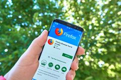 Firefox fast and private browser mobile app on Samsung s8. royalty free stock photo
