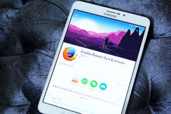 Firefox web browser app. Downloading firefox web browser application from google play store on samsung tablet royalty free stock photos