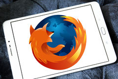 Firefox web browser logo. Logo of firefox web browser on samsung tablet Stock Photos