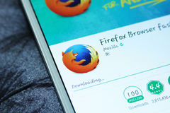 Firefox web browser mobile app. Downloading firefox web browser mobile app from google play store on samsung tablet royalty free stock photo
