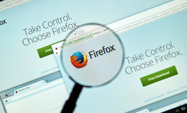 Firefox web browser. MONTREAL, CANADA - MARCH 25, 2016 - Firefox web browser under magnifying glass. Firefox is a free and open-source web browser developed by stock photos