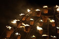 Firegarden at Stonehenge 11th July 2012. Fire garden display at Stonehenge heritage in Salisbury in July 2012 for the 2012 Olympics Stock Photos