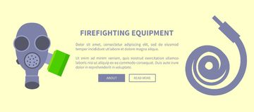 Set of Special Isolated Fire Protection Equipment. Fireghfighting equipment vector illustration made in flat design depicting grey gas mask with green filter Royalty Free Stock Photography
