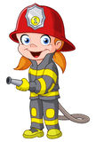 Firegirl. Young girl in a fireman costume Stock Image