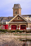 Firehall Pizza Restaurant at Blue Mountain Village, Ontario. Firehall Pizza restaurant is popular with families at Blue Mountain Village in the Town of the Blue royalty free stock images