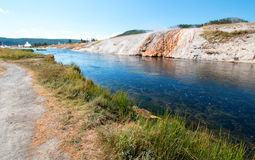Firehole River flowing past the Midway Geyser Basin in Yellowstone National Park in Wyoming Royalty Free Stock Photography