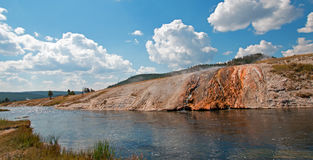 Firehole River flowing past the Midway Geyser Basin in Yellowstone National Park in Wyoming Stock Image