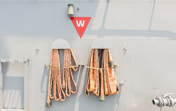 Firehose in battleship Stock Images