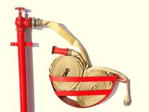 Firehose Hose Emergency Red Royalty Free Stock Photography