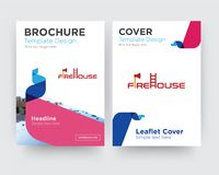 Firehouse brochure flyer design template. With abstract photo background, minimalist trend business corporate roll up or annual report Stock Images