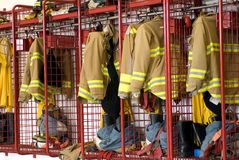 Firehouse locker Royalty Free Stock Image