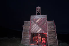 Firehouse at night, Bodie, California Royalty Free Stock Photos