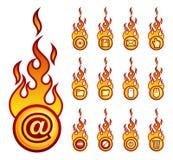 Fireicons computer theme. A set of a vector fireball icons with computer theme Stock Photos