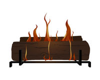 Firelogs. Fire logs burning on top of a log rack Royalty Free Stock Photos
