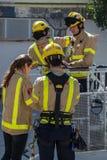 Fireman'stentoonstelling op dorp Palamos 10 Maart, 2018, Spanje Stock Foto's