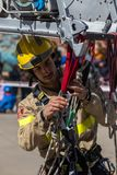 Fireman'stentoonstelling op dorp Palamos 10 Maart, 2018, Spanje Royalty-vrije Stock Fotografie