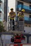 Fireman'stentoonstelling op dorp Palamos 10 Maart, 2018, Spanje Stock Afbeeldingen
