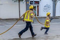 Fireman'stentoonstelling op dorp Palamos 10 Maart, 2018, Spanje Stock Foto