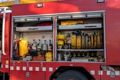 Fireman'stentoonstelling op dorp Palamos 10 Maart, 2018, Spanje Stock Afbeelding
