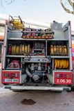 Fireman'stentoonstelling op dorp Palamos 10 Maart, 2018, Spanje Stock Fotografie