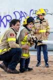 Fireman'stentoonstelling op dorp Palamos 10 Maart, 2018, Spanje Royalty-vrije Stock Afbeeldingen
