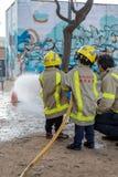Fireman'stentoonstelling op dorp Palamos 10 Maart, 2018, Spanje Royalty-vrije Stock Afbeelding