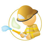 Fireman. Holding water pipe, spraying on fire Royalty Free Stock Photography
