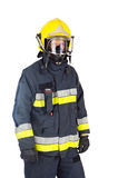 Fireman. Picture of a fireman over a white back ground royalty free stock photography