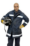 Fireman. In uniform isolated in white Royalty Free Stock Images