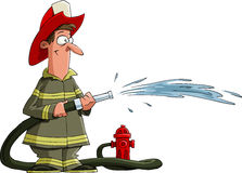 Fireman. Firefighter pours from a fire hose, vector Royalty Free Stock Image