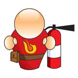 Fireman. Icon of a fireman with a fire extinguisher Stock Photo