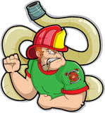 Fireman. A  of a fireman with hose in the background Stock Photos