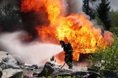Fireman. In Sweden fighting fire Stock Photo