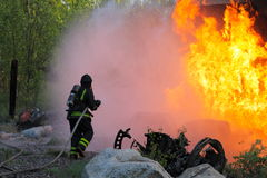 Fireman. In Sweden fighting fire Royalty Free Stock Photography