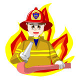 Fireman. Is holding fire hose with fire background Royalty Free Stock Photo