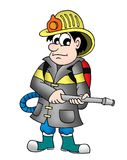 Fireman. Color illustration of fireman with extinguisher stock illustration