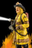 Fireman. Illustration on black background with flames and water flow stock illustration
