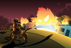 Fireman in Action. Fireman extinguishing the house on fire Royalty Free Stock Images