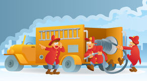 Fireman in Action. With fire truck Stock Image