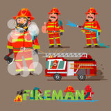 Fireman in action. character set with typographic design - vecto. R illustration Stock Photos
