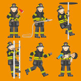 Fireman In Action 6 Figures Set. Fireman in black uniform climbing ladder rescuing child quenching fire 6 flat figures collection abstract vector illustration Stock Images