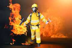 Fireman . Fireman in action fire fighting Royalty Free Stock Images
