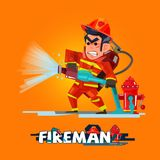 Fireman in action. Firefighter pours from a fire hose. character. Design with typographic -  illustration Stock Photography