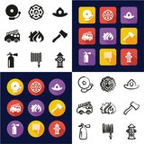 Fireman All in One Icons Black & White Color Flat Design Freehand Set. This image is a vector illustration and can be scaled to any size without loss of Stock Images
