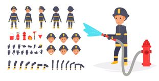 Fireman for animation. Poses front,. Rear, side, three quarter. Creation set. Collection of emotions. Vector. Cartoon. Isolated art on white background. Flat Stock Photography