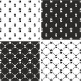 Fireman Avatar Big & Small Seamless Pattern Set Royalty Free Stock Images