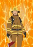 Fireman with an axe on vivid fire background. Firefighter in his gear wearing helmet. Flat vector illustration. Vertical. Fireman with an axe on vivid fire Stock Photo