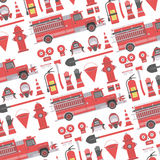 Fireman background. Color vector seamless pattern firefighter equipment. Flat icon background Royalty Free Stock Images
