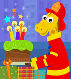 Fireman Birthday Card Royalty Free Stock Photography