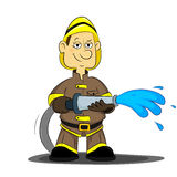 Fireman. Bold, confident firefighter holding a hose with water Royalty Free Stock Photo